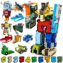 15pcs Digital DIY Transformation robot Building Blocks Deformation robot Number Transformation  Action Figures  Educational toys 19cm height transformation deformation robot toy action figures toys with original box jj616c