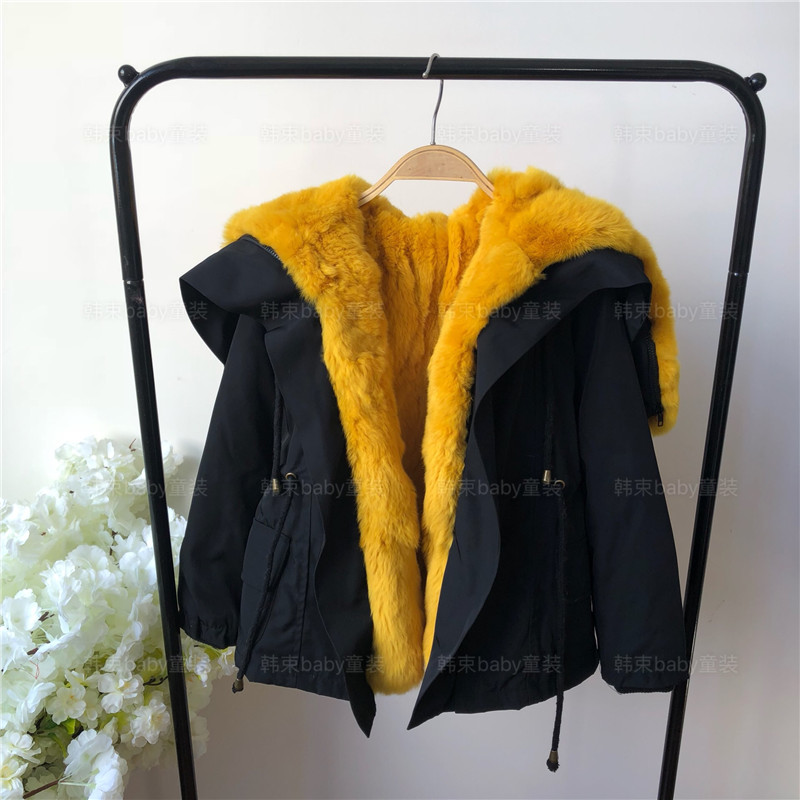 Lovely Parent-child's Real fur parkas for girls winter warm thicken long real full rabbit fur jackets hooded cotton padded coats winter parkas women new design elegant ladies fur hooded zipper thicken warm coats&jackets female cotton padded coat a4400