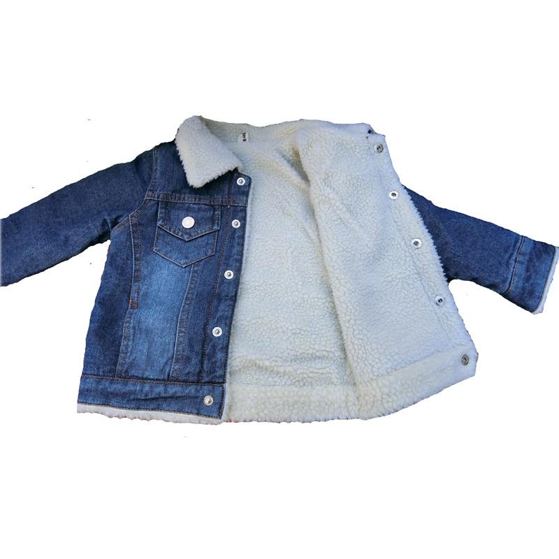 Baby Boys and Girls Denim Jacket 2018 New Children's Clothing Autumn Winter Plus Thick Velvet Infant Girls Jacket DQ665