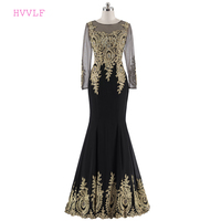 Black Evening Dresses 2018 Mermaid Long Sleeves Chiffon Lace Beaded See Through Evening Gown Prom Dress