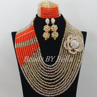 Gorgeous Lace Jewelry Gold Crystal Beads Necklace Nigerian Wedding African Beads Jewelry Set Bridal Sets Free Shipping ABF514