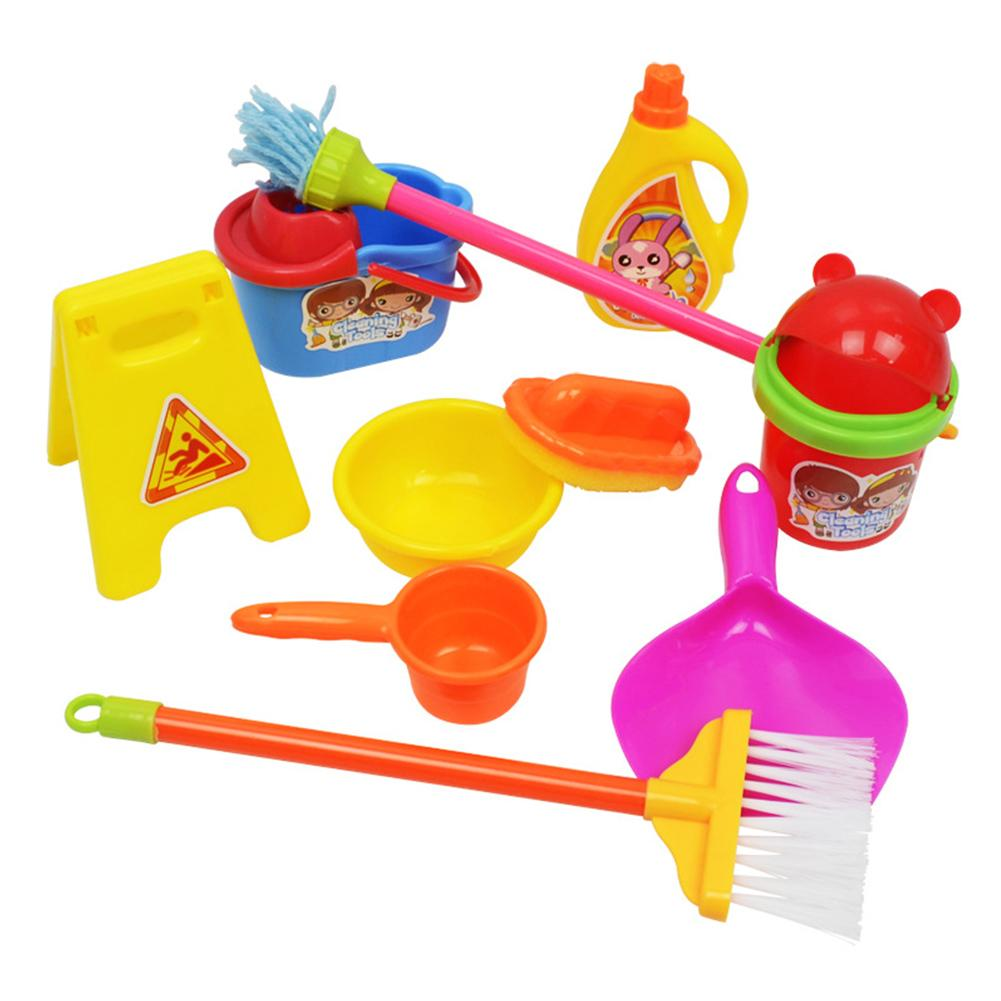 Simulation Cleaning Set Mop Broom Cleaning Toys Children's Pretend Play Cleaning Set Brain Game Housekeeping Accessories