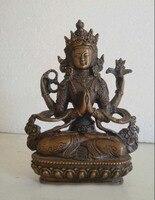 Tibet Budizm bronz dört el Kol Kwan-yin Guan Yin Bodhisattva Buda Heykeli