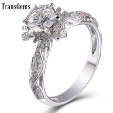 TransGems Solid 14K White Gold Center 1ct 6.5mm FG Color Lab Grown Moissanite Engagement Ring with Accent for Women Wedding Gift