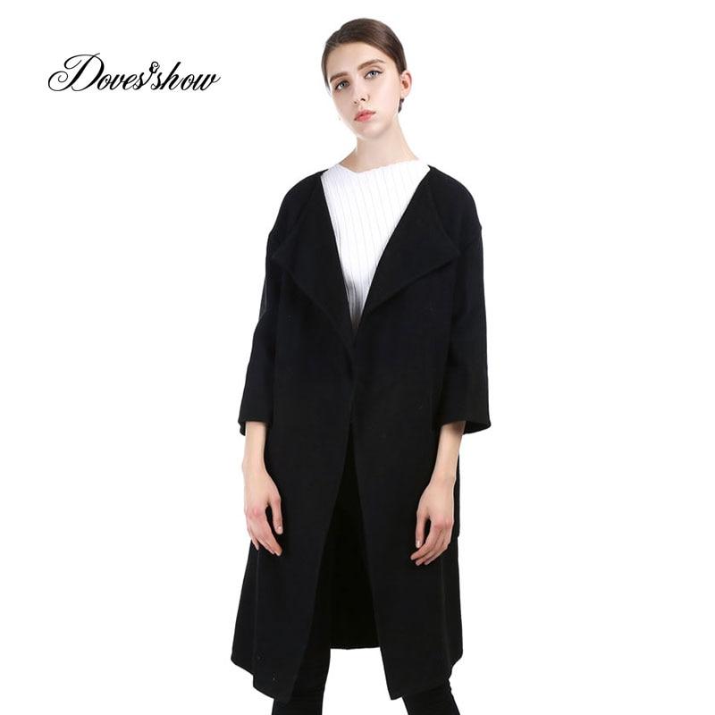 Vintage Qadın Qara Uzun Cashmere Palto 2017 Yeni Yun Palto Qadın - Qadın geyimi - Fotoqrafiya 1