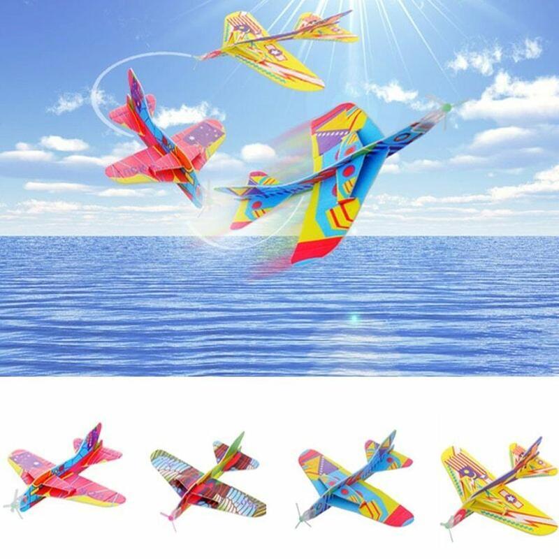 2017 12pcs Diy Hand Throw Flying Glider Planes Foam: Creative Kids Magic Roundabout Combat Aircraft Foam Paper