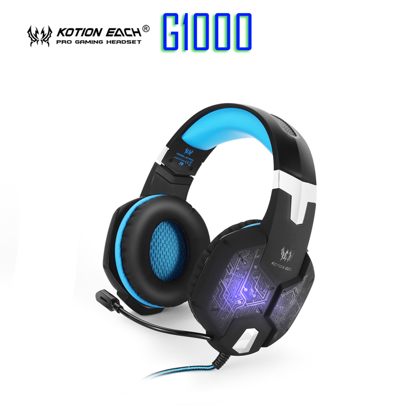 New EACH G1000 Deep Bass Gaming Headphone Stereo Surround Over Ear Headset 3.5mm+USB Headphones With Mic LED Light For PC Gamer 2016 pc780 over ear hifi stereo gaming headset earphone stereo bass led light headband headphone with mic for pc gamers