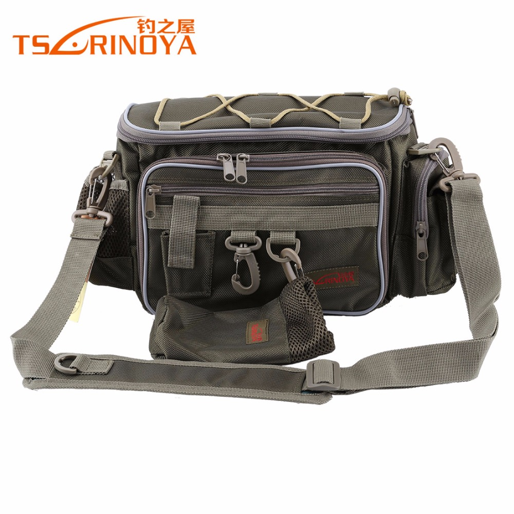 TSURINOYA Brand Canvas Multifunctional Waist Pack Messenger Fishing Bag Pole Package Fishing Tackle Bag 40*19*15cm tourbon multifunction fishing bag lure bag waist pack pouch pole package fish tackle bag nylon black