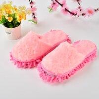 Chinelos preguiçosos do esfregão do limpador da casa dos dedos não abertos do rosa encantador para limpar sua casa  1 pces