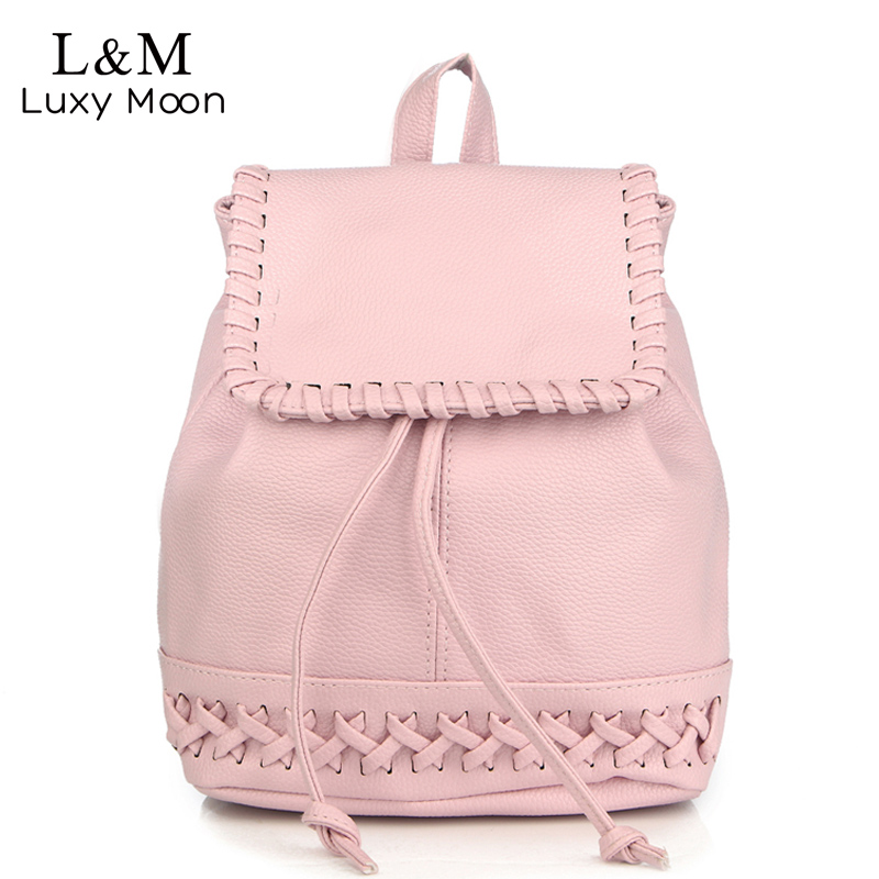 New Korean Backpacks 2017 Fashion PU Leather Shoulder Bag Drawstring Small Backpack Embossed School Bags White
