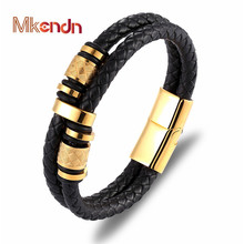 MKENDN Punk Genuine Leather Bracelet Double Layer Black Gold Stainless Steel Magnetic Button For Men Unisex Accessories Jewelry