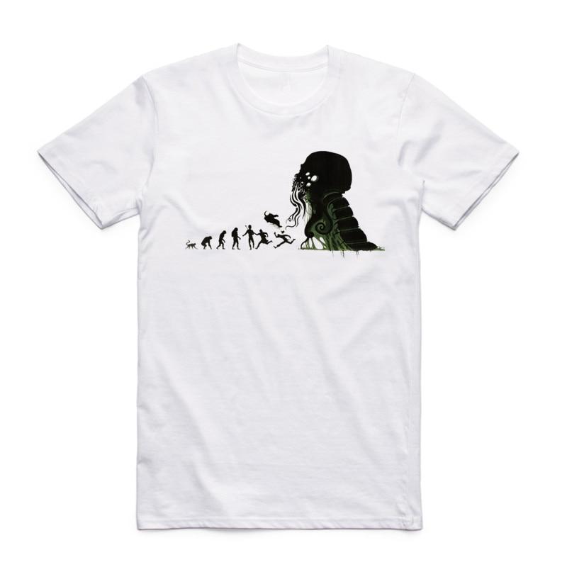 2017 S-XXXL Эволюция Cthulhu забавная футболка с коротким рукавом О-образным вырезом Хип-Хоп Лето Повседневная homme Streetwear Swag Harajuku футболка