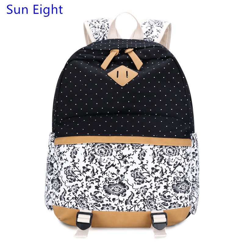 Sun Eight brand mochila female vintage canvas backpack black flower bag for laptop printing backpack women
