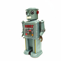 [TOP] Adult Collection Retro Wind up toy Metal Tin moving Arms swing alien robot Mechanical Clockwork toy figures kids gift