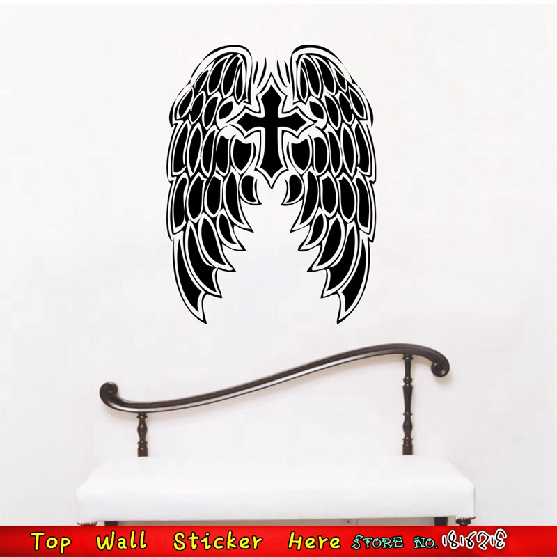 Jesus Christ God Bless You Wall Stickers Cross Church Bedroom Decorations  Christmas Gifts Supplies Angel Wings Wall Decals Paper In Wall Stickers  From Home ...