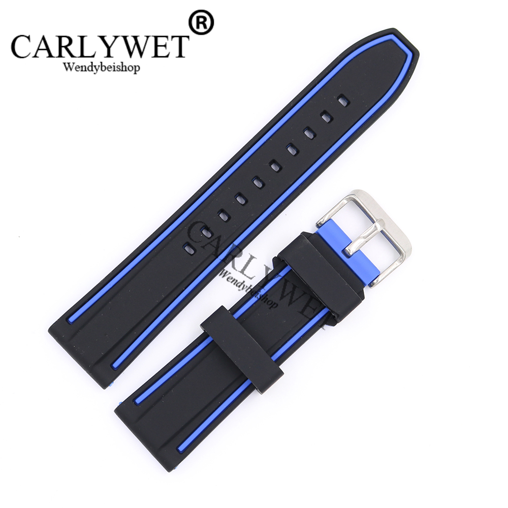 CARLYWET 22mm Wholesale Black With Blue Waterproof Silicone Rubber Replacement Wrist Watch Band Strap with Silver Brushed Buckle soft rubber watchband 26mm for executive 243 men replacement silicone watch band steel butterfly buckle wrist strap black blue