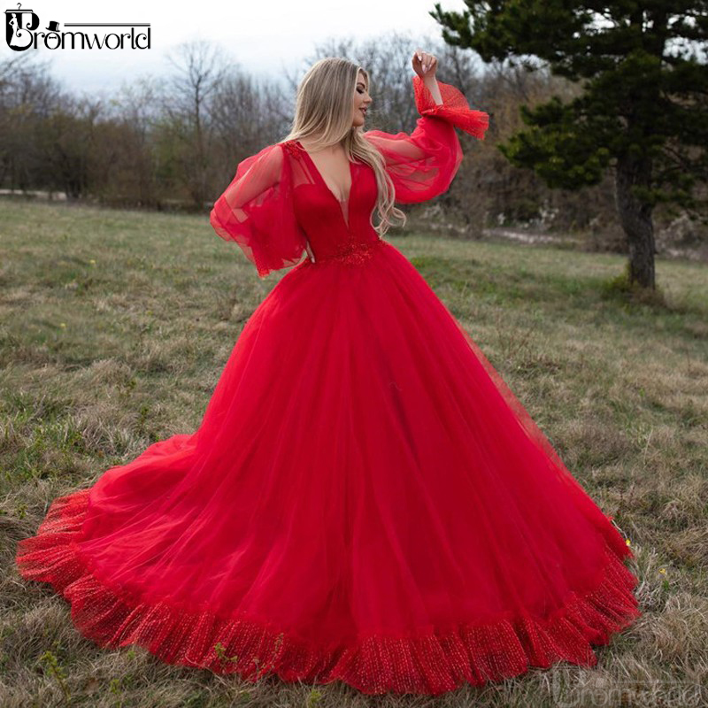 Sexy Red Muslim Evening Dresses 2019 Ball Gown V Neck Plus Size Prom Dress Robe De Soiree Arabic Dubai Long Sleeves Evening Gown