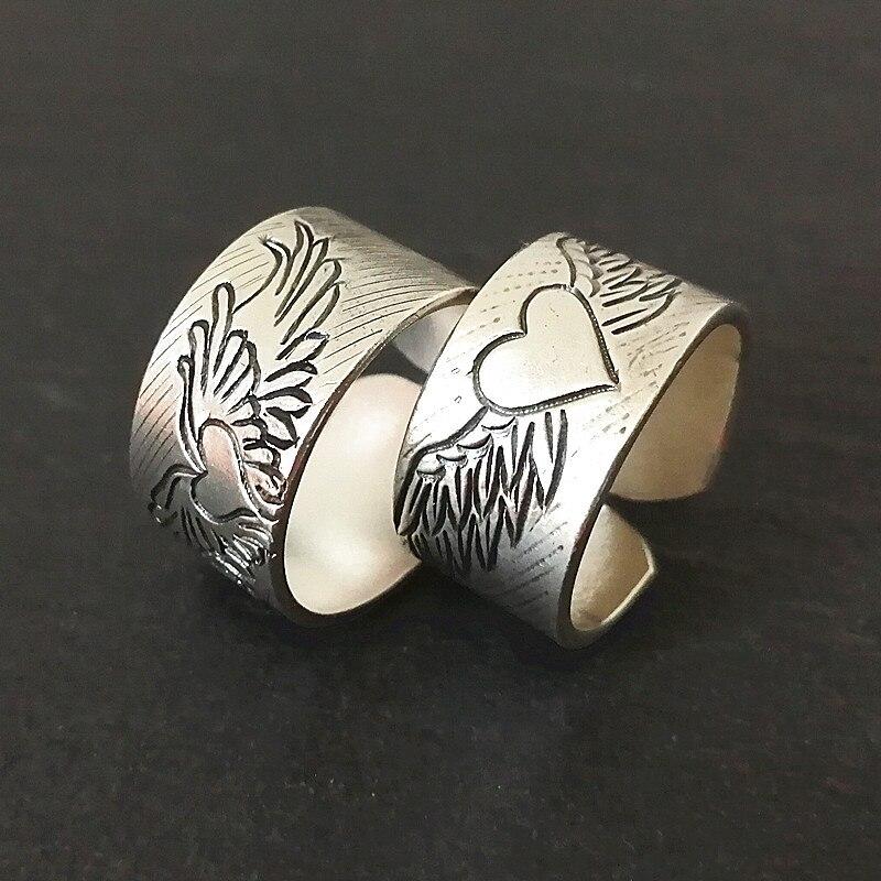 Ailes d'ange 999 en argent Sterling Couple anneaux femmes hommes mariage coeur bague de fiançailles Vintage fait main bijoux de luxe Vintage