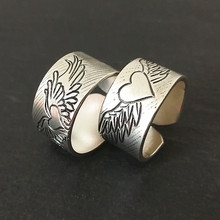 Angel Wings 999 Sterling Silver Couple Rings Women Men Wedding Heart Ring Engagement Vintage Handmade Luxury Jewelry