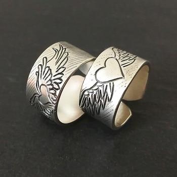 Angel Wings 999 Sterling Silver Couple Rings Women Men Wedding Heart Ring Engagement Vintage Handmade Luxury Jewelry Vintage
