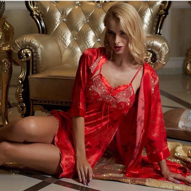 XIFENNI Marca Albornoces Mujeres Satén de Seda Robe Sets Moda Rojo Ropa de Dormir de Alta Calidad de Encaje Impreso V-cuello de la Ropa Interior Fijó 9224