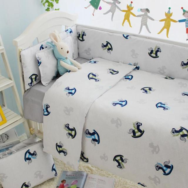 New Arrival Cartoon Horse Print Baby Crib Bedding Set,Baby Quilt Cot Bumper Comforter,Toddler Bed Cover Infant Crib Sheet Pillow