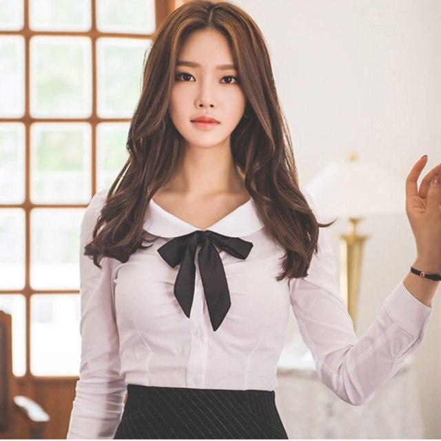 3cb16d76dcba 2019 весна осень белая блузка рубашка Женская офисная одежда Топ Питер Пэн  воротник с длинным рукавом женская RWS175001