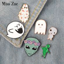 Ghost Alien enamel pin น่ารัก Boo Ghost monster พวงหรีด alien(China)