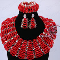 Hot Red Luxury Skirt Design African Beads Jewelry Set Indian New Arrival Fashion Necklace And Earring
