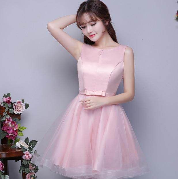 Adolescente linda scoop corsé sin mangas rosa claro home coming ...