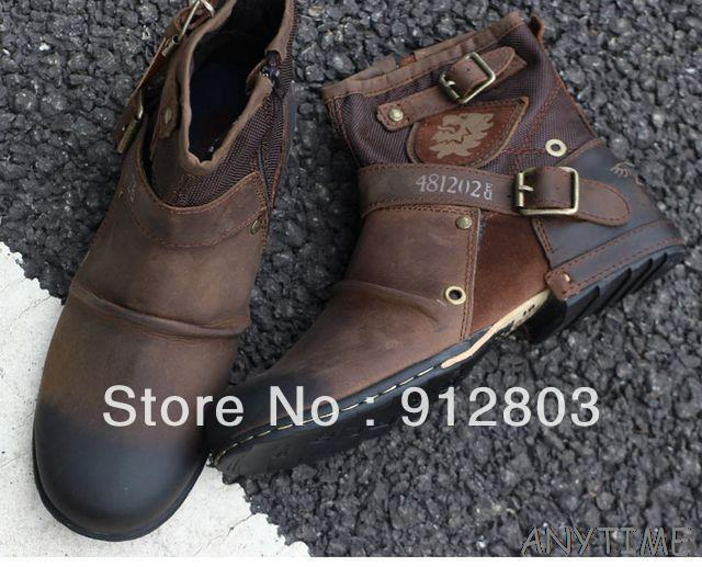 Original Brand LOGO Restoring Ancient Cowide GENUINE LEATHER Men's Cowboy Boots,  Man Motorcycle Designer Shoes, Free Shipping