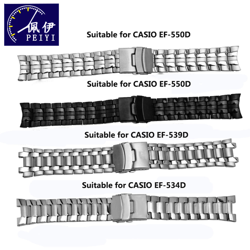 PEIYI Watchband Solid Stainless Steel Wristband Replacement Metal Strap Men's Bracelet EF-550/539/534 Black Silver For Casio
