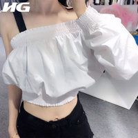 [HG] 2019 New Europe Sexy Full Sleeve Solid Color Fashion Women Shirt Summer Pullover Asymmetry Skew Collar Blouse WBB3546