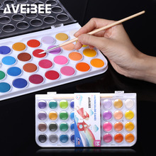 Stationery School Supplies Watercolor Paint 36 Colors Portable Plastic Box Travel Solid Water color Paints Set For Kid Painting