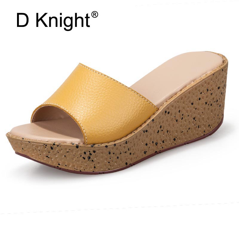Sandals Women Summer Platform High Heels Wedges Shoes Ladies Casual Genuine Leather Shoes  Woman Wedge Slippers Beach Sandals woman fashion high heels sandals women genuine leather buckle summer shoes brand new wedges casual platform sandal gold silver