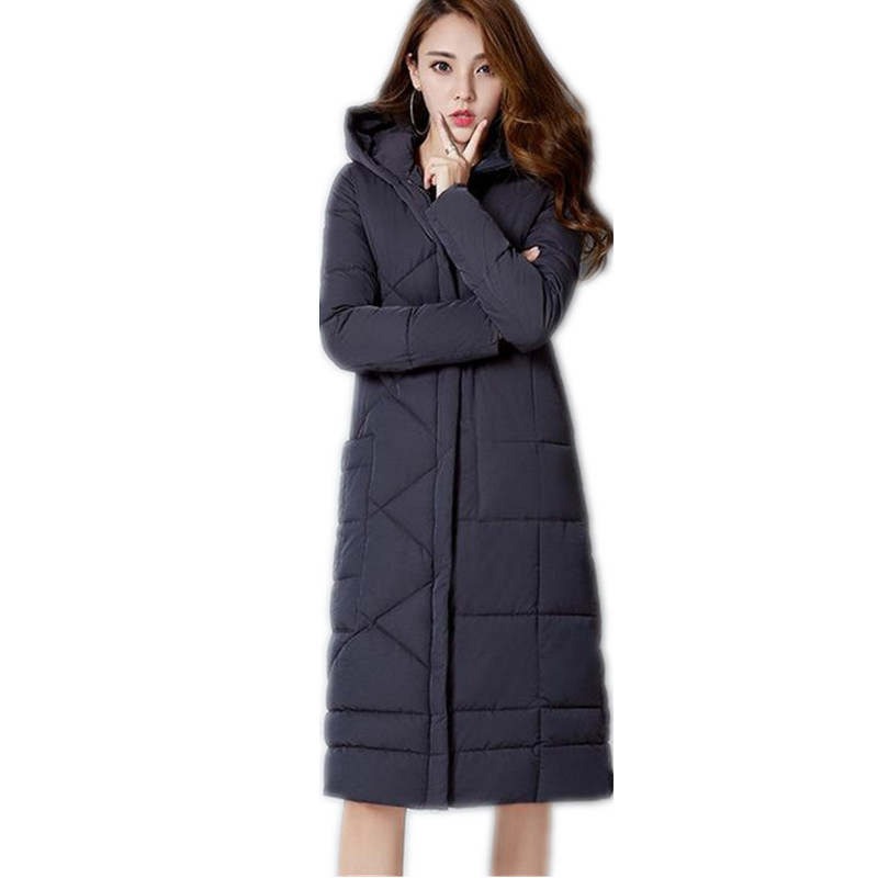 New Fashion Winter Women 2017 Long Down Cotton Simple Coat ...