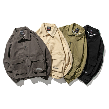 2019 Autumn New Original Japanese Solid Color Lapel Tooling Wild Casual Tide Men's Thin Section Loose Korean Long-sleeved Jacket