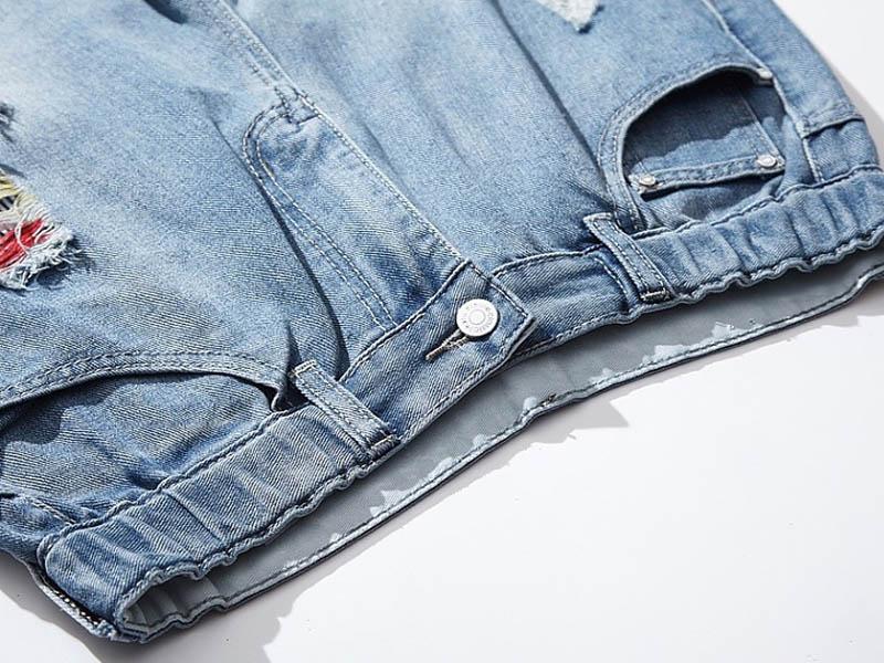 Loose Casual Ripped Jeans Women Trousers Hole Denim Harem Pants Elastic Waist Plus Size Jeans Blue MYNN113