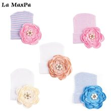 1pcs Newborn Baby Hat Cotton Beanie With Big Flower Bow Infant Soft Knitted Striped Bowtie Caps Toddler  Accessory