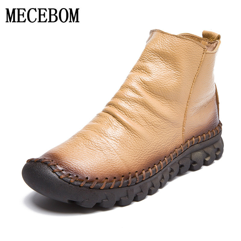 2018 Vintage Style Genuine Leather Women Boots Flat Booties Soft Cowhide Women's Shoes Front Zip Ankle Boots zapatos mujer 7199W jiguoor 8858 220v 650w portable led bga rework solder station hot air blower heat gun