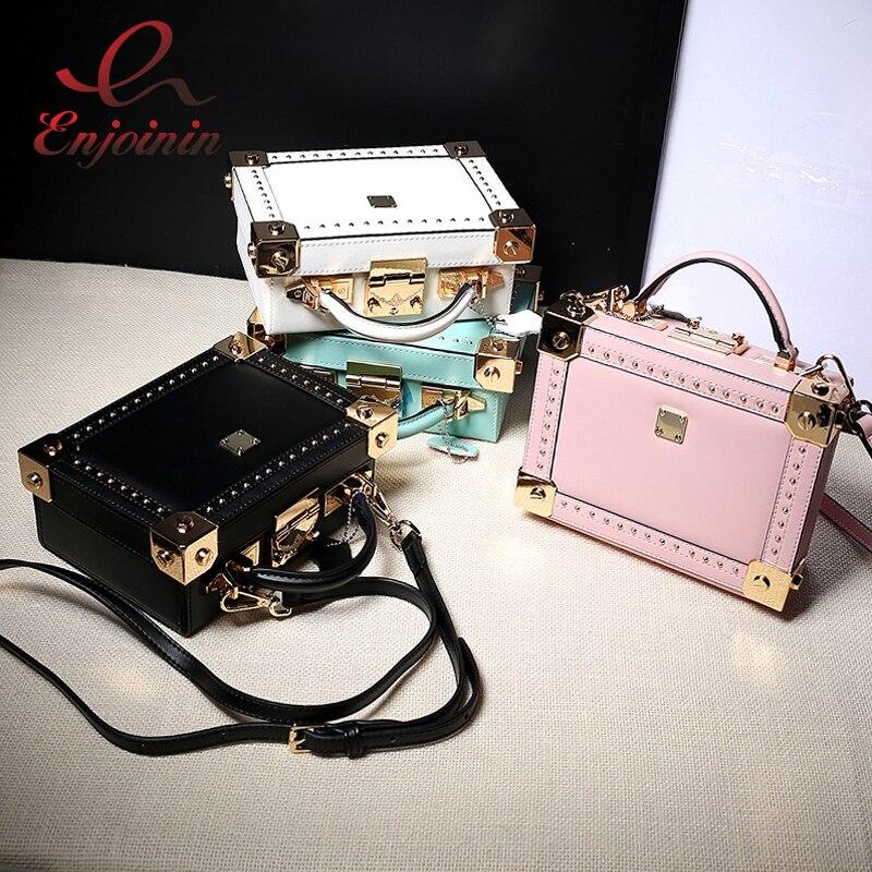 Good quality fashion style box shape Genuine Leather rivet ladies handbag shoulder bag totes women s
