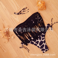 2016 Sexy New Leopard Cow Print Tassels Bikini Set Trikini Women Swimwear Push Up Swimsuit Bathing