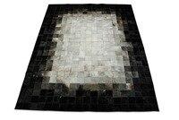White Gray Black Leather Area Rug Squares Design No 218