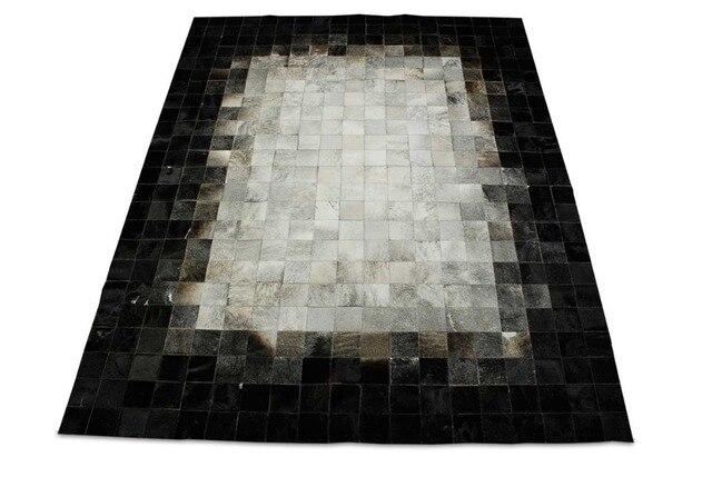 Weiß grau schwarz leder bereich teppich quadrate design no