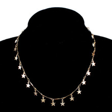 подвеска бижутерия New simple fashion ladies long pendant five-pointed star sequins necklace trend love pendan