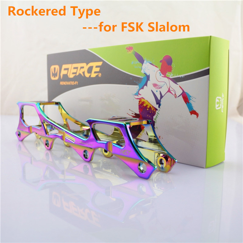 ФОТО Rockered Type Inline Skates Frame with 219mm 231mm 243mm Banana Rocking Base, 6019 Aluminium Alloy CNC for SEBA FSK Slalom
