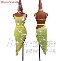 Custom Women Latin Dance Dress Competition Clothing Sexy Backless Diamond Dress Lady's Girls Latin Salsa Dance Practice Costume