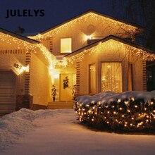 СВЕТОДИОДНАЯ Гирлянда занавес JULELYS, уличная Рождественская гирлянда на окно, светодиодные огни, украшение для свадьбы, праздвечерние ринки, дома, заднего двора