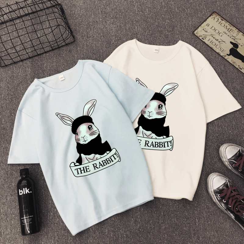 Cute Rabbit Print Women Tshirt High Quality Short Sleeve Round Neck Cotton Spandex Women Tops Casual Loose Women T-shirt 15