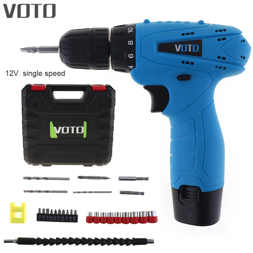 VOTO AC 100 - 240V Cordless 12V Electric Screwdriver with Rotation Adjustment Switch and Plastic Box 26pcs Accessories Set high tech and fashion electric product shell plastic mold